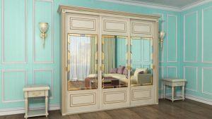 Шкаф купе с фрезеровкой и зеркальным панно Балаково