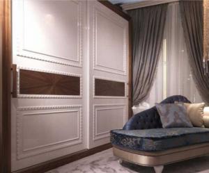 Шкаф купе с эмитацией филенки и фигурной накладкой, ламинация, шпон, эмаль Балаково