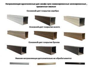 Направляющие однопосные для шкафа купе ламинированные, шпонированные, крашенные эмалью Балаково